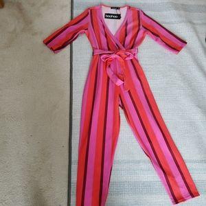 Boohoo Pink Striped 3/4 Sleeve V-neck Jumpsuit